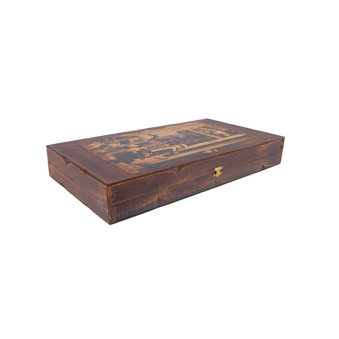 Handmade Wooden Backgammon Game Set The Coffeehouse Picture Inset Small 2