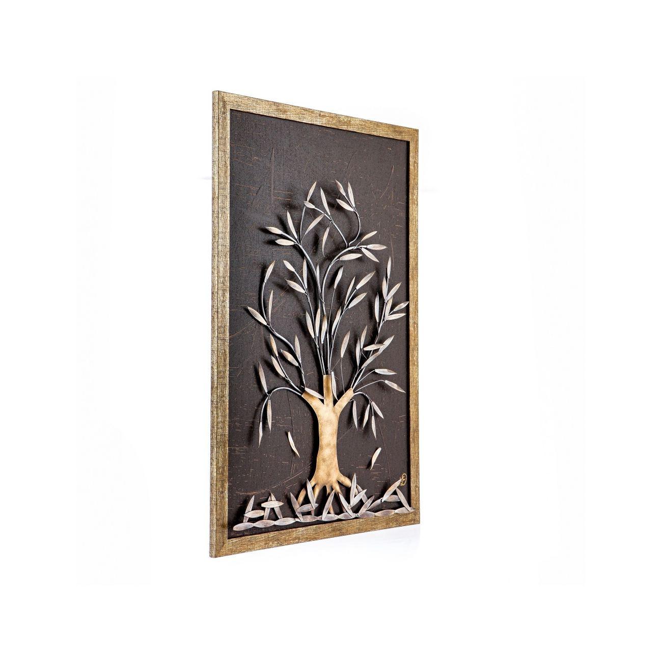 Olive Tree, 3D Handmade Wood & Metal Wall Art Framed Decor, 25\