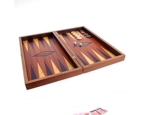 Handmade Mahogany Wood Backgammon Chess & Checkers Wooden Board Game Set - Large 2