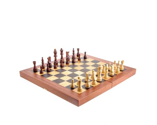 Backgammon, Chess & Checkers Game Set - Handmade Mahogany - Large