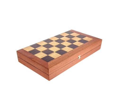 Handmade Mahogany Wood Backgammon Chess & Checkers Wooden Board Game Set - Large 6