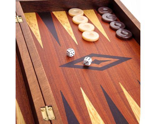Handmade Mahogany Wood Backgammon Chess & Checkers Wooden Board Game Set - Large 7