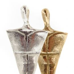 2 Human Figures Metal Sculpture - Handmade Bronze & Aluminum on Marble Base Ornament