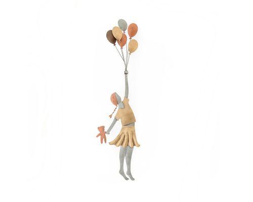 Κορίτσι με Μπαλόνια - Διακοσμητικό Τοίχου, Μεταλλικό