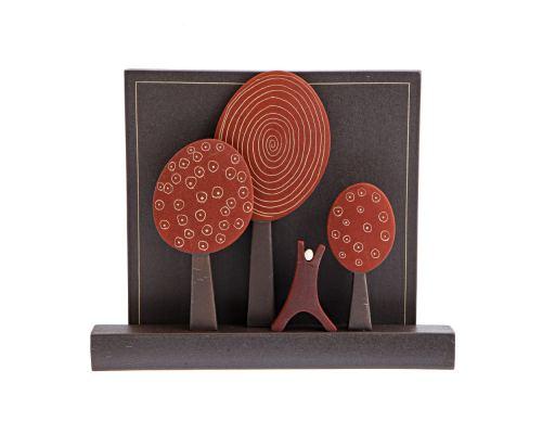 Μοντέρνο Διακοσμητικό Τοίχου - Κεραμικό, Σχέδιο Δάσος - Κόκκινο, Μεγάλο