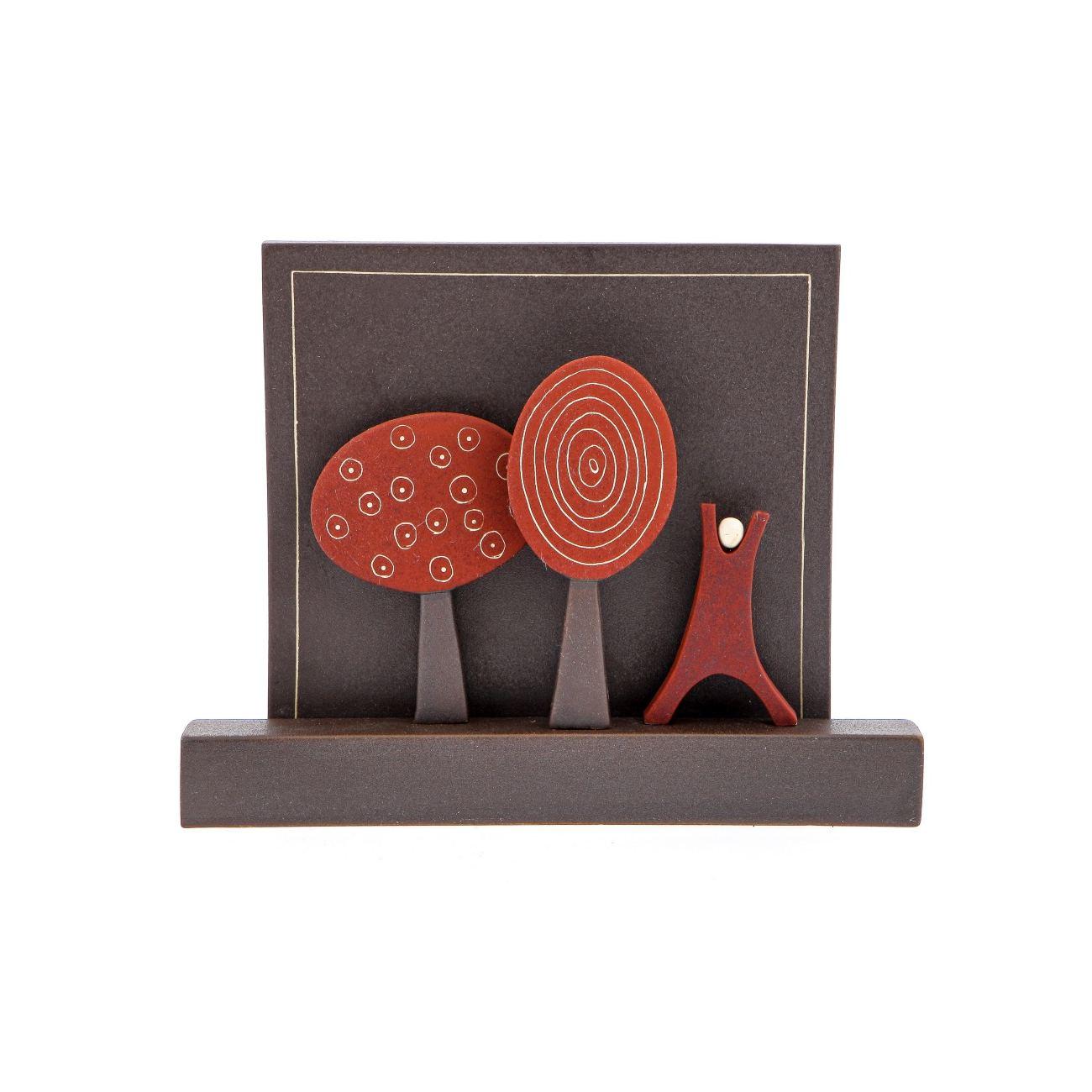 Modern Ceramic 3d Tile Wall Art Decor Sculpture Handmade Nature Red Small