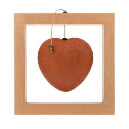 Καρδιά Κόκκινη - Κεραμικό Διακοσμητικό με Ξύλινο Πλαίσιο - Μεγάλο