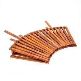 Olive Wood Fruit or Vegetable Basket Handmade, Wooden Folding Display Stand 11' (29cm) 3