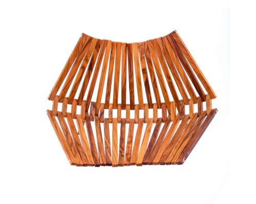 Olive Wood Fruit or Vegetable Basket Handmade, Wooden Folding Display Stand 11' (29cm) 4