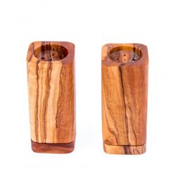 Olive Wood Kitchen Accessories Handmade, Wooden Salt & Pepper Shakers Set 2
