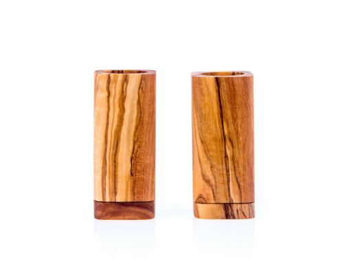 Olive Wood Kitchen Accessories Handmade, Wooden Salt & Pepper Shakers Set 3