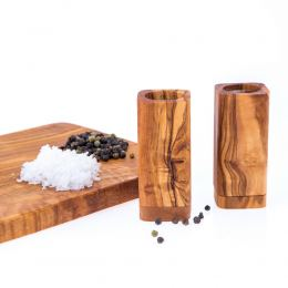 Olive Wood Kitchen Accessories Handmade, Wooden Salt & Pepper Shakers Set 6
