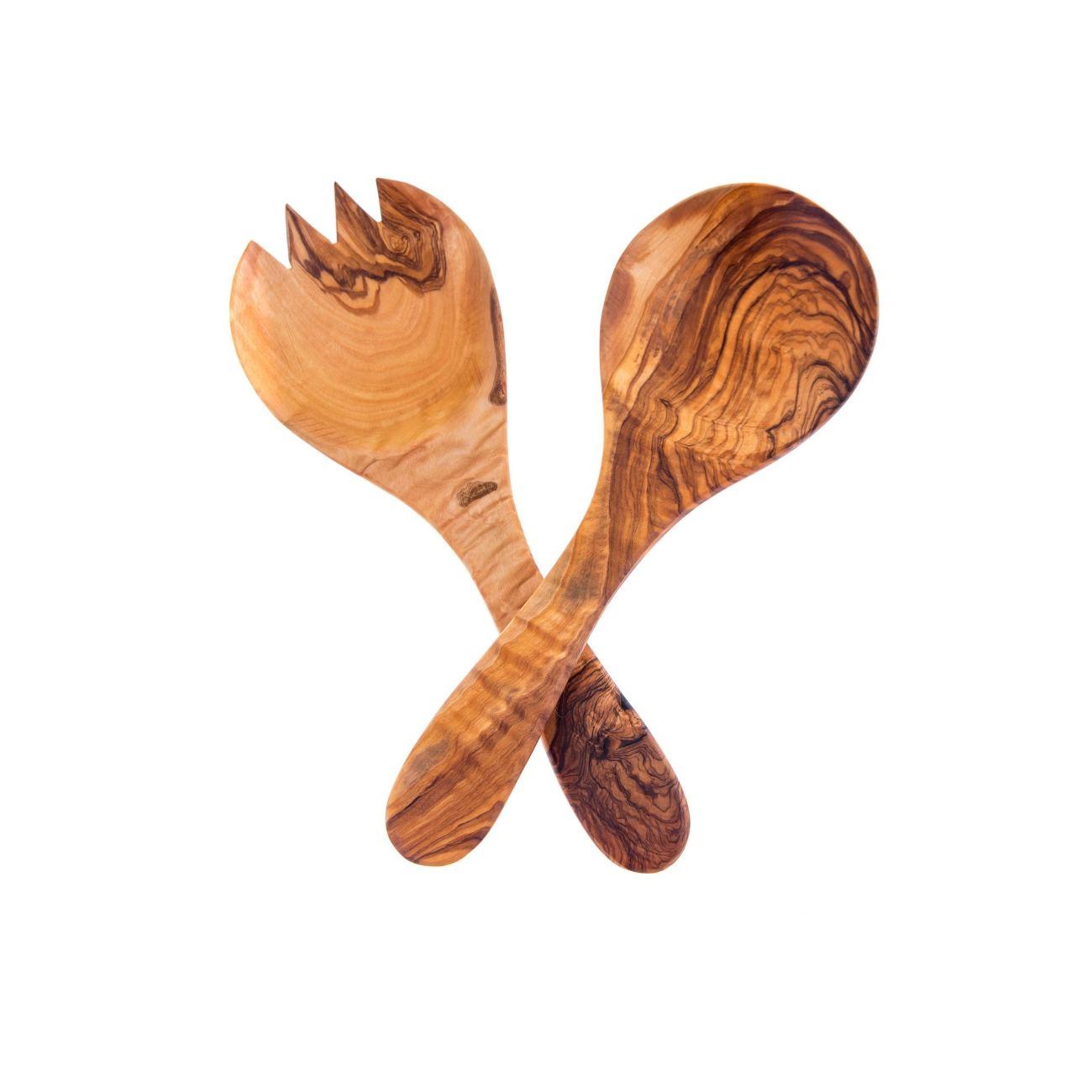 Olive Wood Kitchen Serving Utensils Handmade, Wooden Salad Or Fruit Spoon U0026  Fork Set 10
