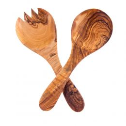 Σετ Κουτάλα & Πιρούνα από Ξύλο Ελιάς, Κοντές 26cm