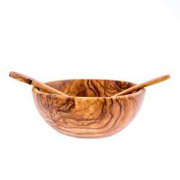 Σετ Κουτάλα & Πιρούνα από Ξύλο Ελιάς, Ίσιες 28cm