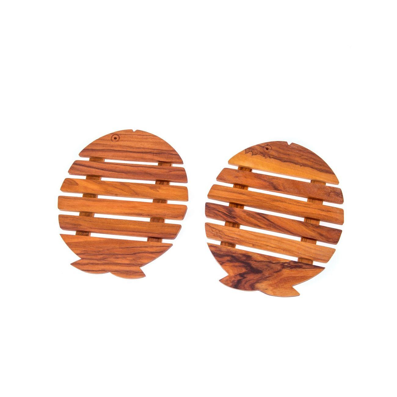 Olive Wood Pot Coasters or Trivets Set of 2 - Heat Resistant, Fish ...
