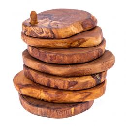 Olive Wood Drink Serving Coasters Set of 6 - Handmade Rustic Coasters with Holder & Base
