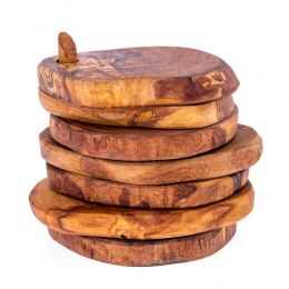 Olive Wood Serving Accessories Handmade, Wooden Rustic Drink Coasters Set of 6 with Base 2