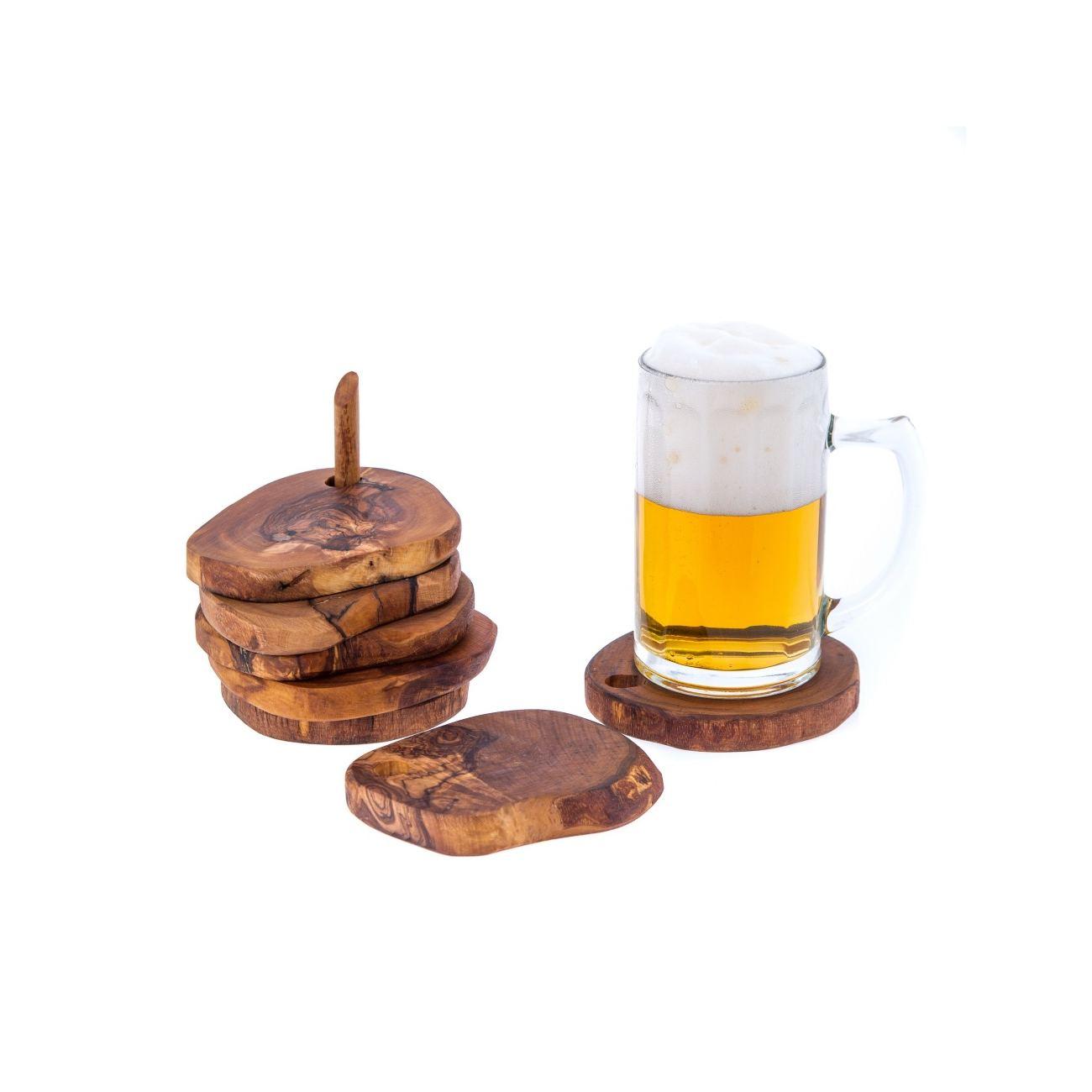 Olive wood drink serving coasters set of 6 handmade for Handmade drink coasters