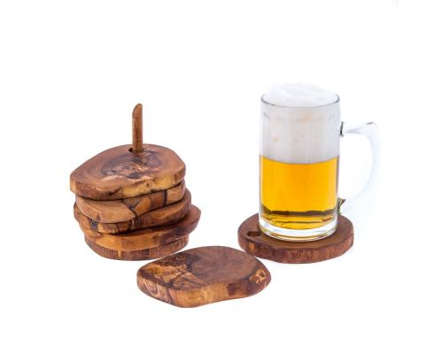 Olive Wood Serving Accessories Handmade, Wooden Rustic Drink Coasters Set of 6 with Base 4