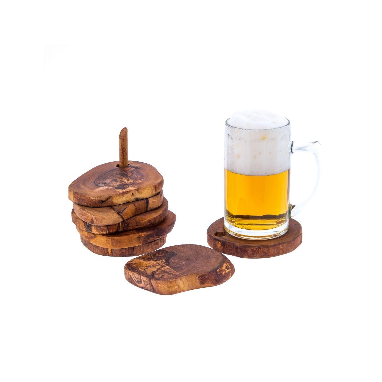 Olive Wood Drink Serving Coasters Set Of 6 Handmade