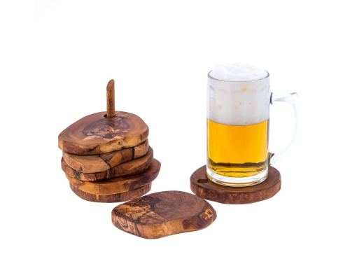 Olive Wood Serving Accessories Handmade, Wooden Rustic Drink Coasters Set of 6 with Base 5
