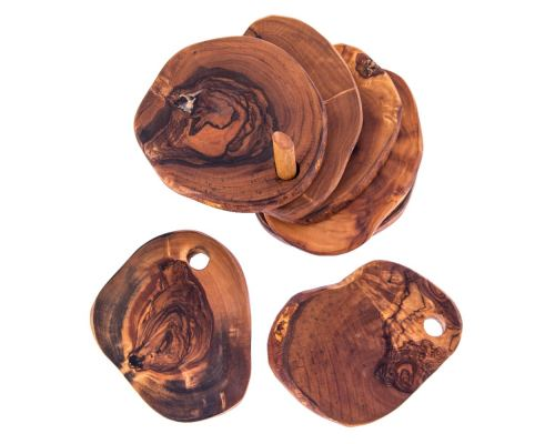 Olive Wood Serving Accessories Handmade, Wooden Rustic Drink Coasters Set of 6 with Base 6