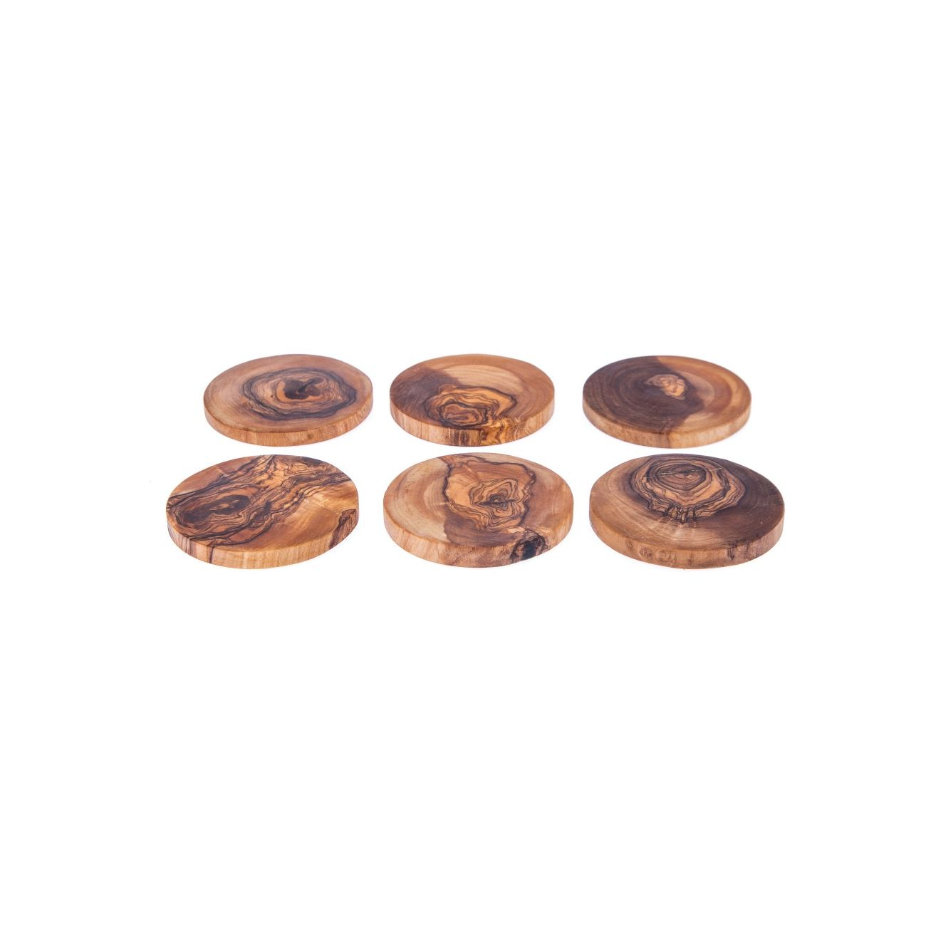 Olive Wood Drink Coasters Set of 6 - Handmade Round Coasters with ...