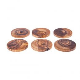 Olive Wood Serving Accessories Handmade, Wooden Rustic Drink Coasters Set of 6 with Holder 4