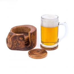 Olive Wood Serving Accessories Handmade, Wooden Rustic Drink Coasters Set of 6 with Holder 5