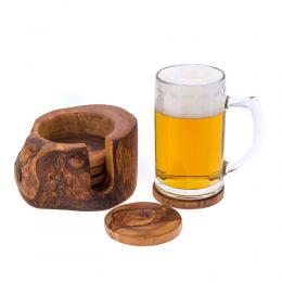 Olive Wood Serving Accessories Handmade, Wooden Rustic Drink Coasters Set of 6 with Holder 6
