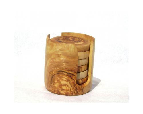 Σετ Σουβέρ από Ξύλο Ελιάς & Στρογγυλή Θήκη
