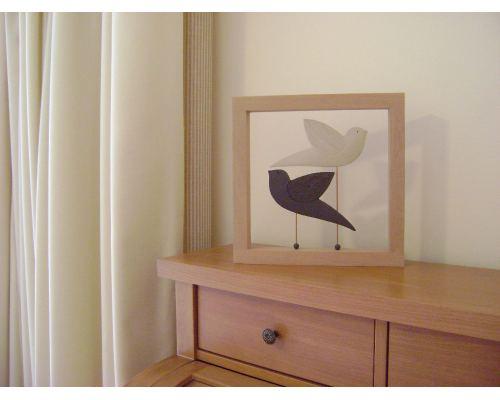 Διακοσμητικό Τοίχου - Κεραμικό, σε Ξύλινη Κορνίζα - Πουλιά, Μπέζ - Μαύρο