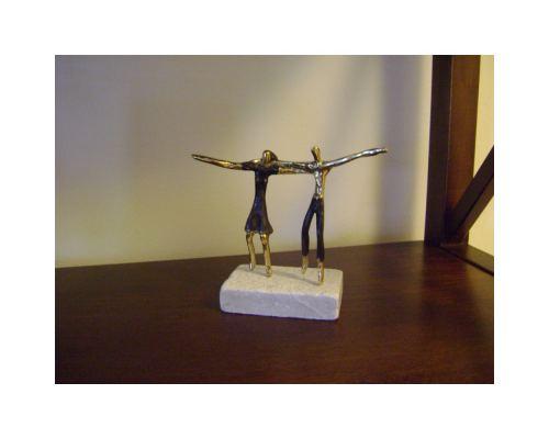 """Two Greek Sirtaki Dancers"" Metal Sculpture - Handmade Bronze on Marble Base, Male & Female"