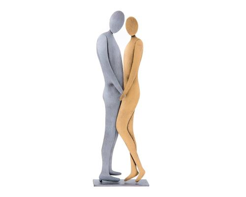 "Love Couple Figurines, Modern Handmade Metal Table or Wall Ornament - 10.6"" (27cm)"