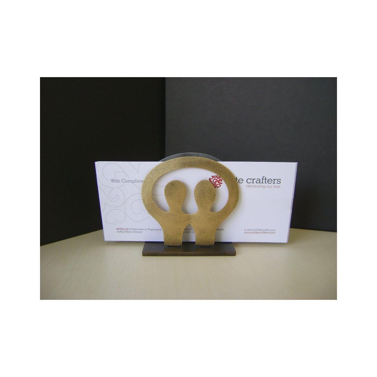 Business card holder modern metal handmade 2 human figures design reheart Gallery