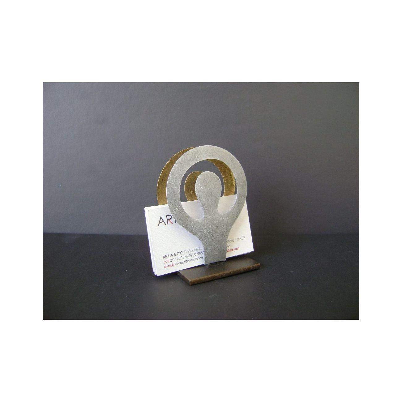 Business card holder modern metal handmade human figure design reheart Choice Image