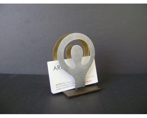 Business Card Holder, Modern Metal, Handmade Human Figure Design