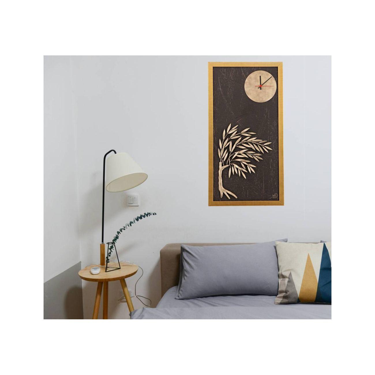 Olive Tree & Round Clock, Wood & Metal Framed Wall Art Ornament ...