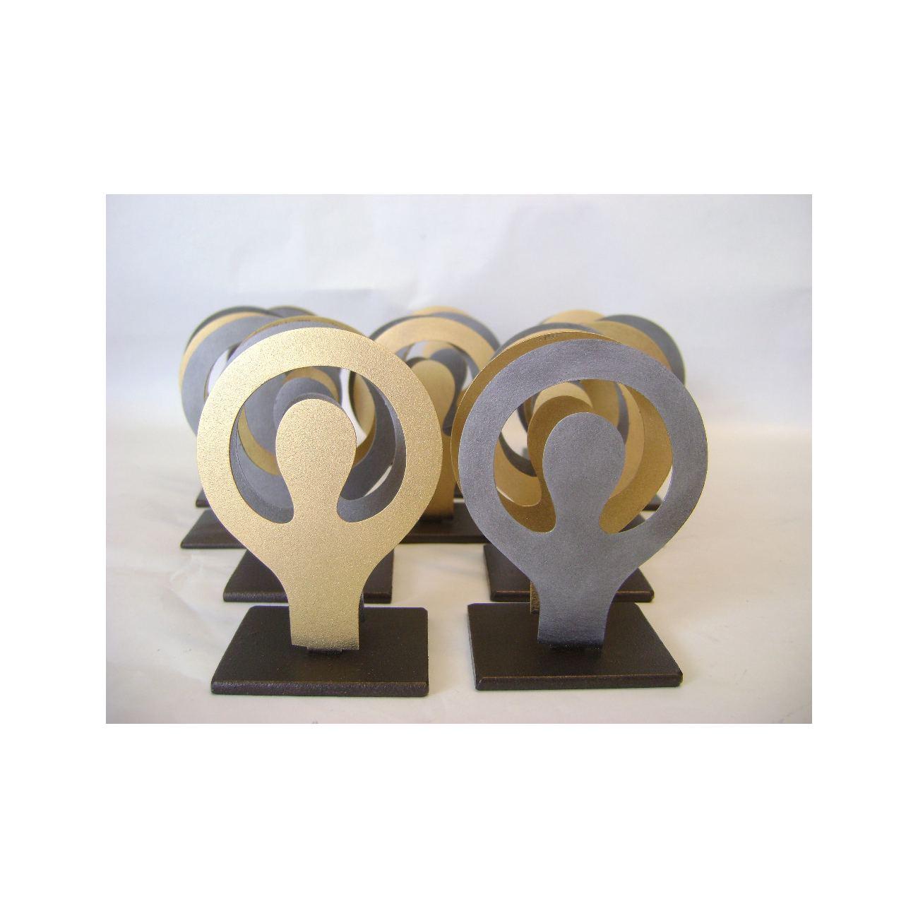 Card Holder, Modern Metal, Handmade Human Figure Design