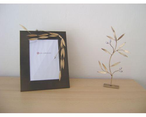 Κορνίζα Φωτογραφιών - Μεταλλική, Διακοσμητική - Κλαδί Ελιάς, Μεγάλη
