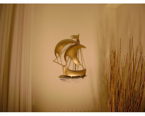 "Sailing Ship, Wall Art Sculpture - Handmade Metal Nautical Wall Art Decor, 20"" (50cm)"