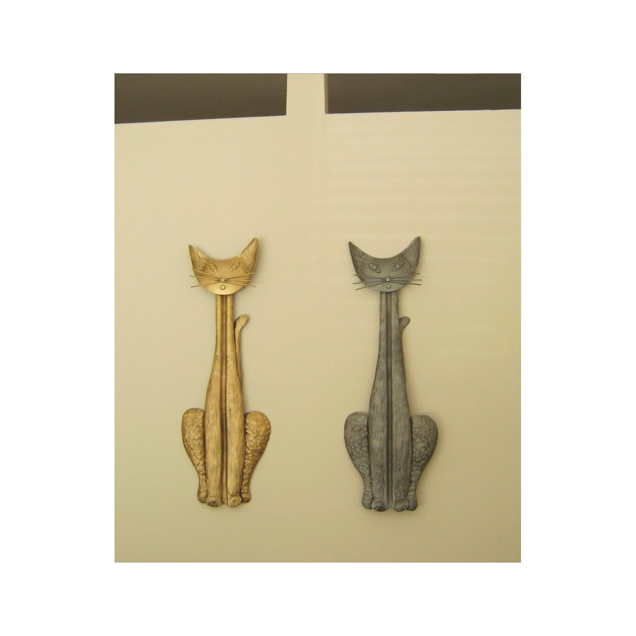 Cat Figure - Large Handmade Metal Wall Art Decor Sculpture - Silver ...