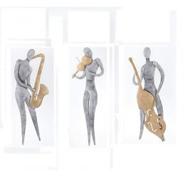 Music Player Figurine - Modern Handmade Metal Wall Decorative Sculpture - 3 Designs