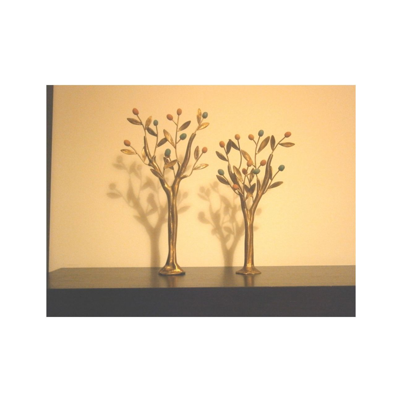 Olive Trees Set of 2 - Handmade Bronze & Ceramic Sculptures - Modern ...