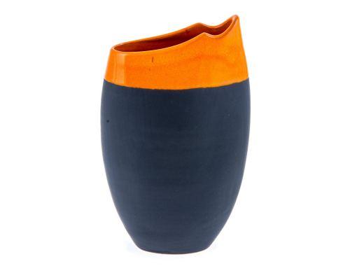 Βάζο - Κεραμικό Οβάλ, Γκρι - Πορτοκαλί