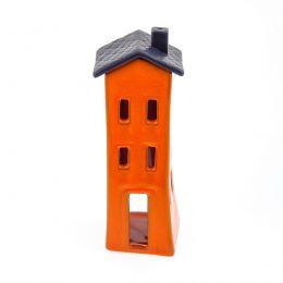 Φαναράκι Διακοσμητικό για Ρεσώ - Κεραμικό, Σπίτι Πορτοκαλί - Γκρι, Μεγάλο