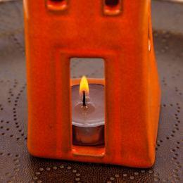Φαναράκι Διακοσμητικό για Ρεσώ - Κεραμικό, Σπίτι Πορτοκαλί - Γκρι, Μικρό