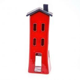 Φαναράκι Διακοσμητικό για Ρεσώ - Κεραμικό, Σπίτι Κόκκινο - Γκρι, Μεγάλο