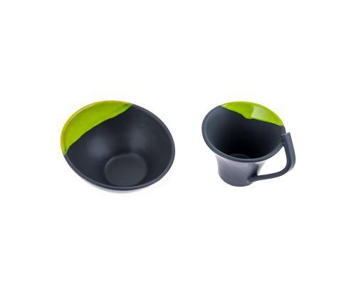 Κούπα & Μπωλ Σετ - Κεραμικό, Γκρι - Πράσινο